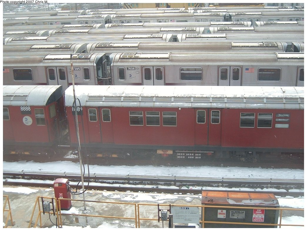 (194k, 1044x788)<br><b>Country:</b> United States<br><b>City:</b> New York<br><b>System:</b> New York City Transit<br><b>Location:</b> Westchester Yard<br><b>Car:</b> R-33 Main Line (St. Louis, 1962-63) 8889 <br><b>Photo by:</b> Chris M.<br><b>Date:</b> 2/26/2005<br><b>Viewed (this week/total):</b> 1 / 1926