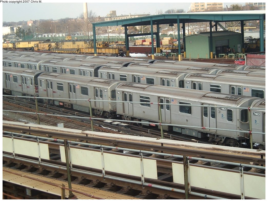 (225k, 1044x788)<br><b>Country:</b> United States<br><b>City:</b> New York<br><b>System:</b> New York City Transit<br><b>Location:</b> Westchester Yard<br><b>Car:</b> R-142A (Primary Order, Kawasaki, 1999-2002)  7462 <br><b>Photo by:</b> Chris M.<br><b>Date:</b> 2/26/2005<br><b>Viewed (this week/total):</b> 0 / 2927