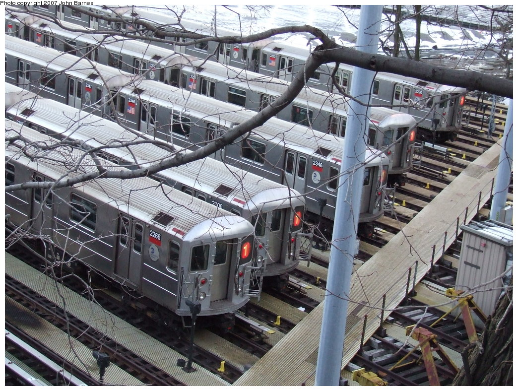 (282k, 1044x788)<br><b>Country:</b> United States<br><b>City:</b> New York<br><b>System:</b> New York City Transit<br><b>Location:</b> 240th Street Yard<br><b>Car:</b> R-62A (Bombardier, 1984-1987)  2266 <br><b>Photo by:</b> John Barnes<br><b>Date:</b> 3/20/2007<br><b>Viewed (this week/total):</b> 1 / 4311