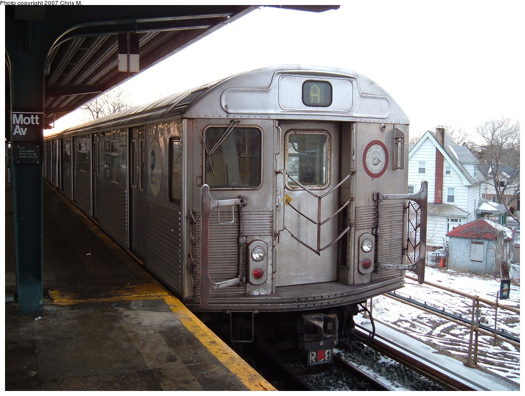 (198k, 1044x788)<br><b>Country:</b> United States<br><b>City:</b> New York<br><b>System:</b> New York City Transit<br><b>Line:</b> IND Rockaway<br><b>Location:</b> Mott Avenue/Far Rockaway <br><b>Route:</b> A<br><b>Car:</b> R-38 (St. Louis, 1966-1967)  3988 <br><b>Photo by:</b> Chris M.<br><b>Date:</b> 2/20/2007<br><b>Viewed (this week/total):</b> 2 / 2113