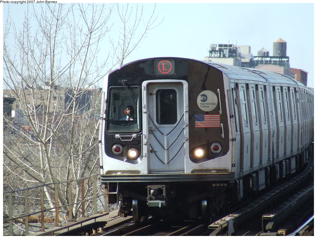 (219k, 1044x788)<br><b>Country:</b> United States<br><b>City:</b> New York<br><b>System:</b> New York City Transit<br><b>Line:</b> BMT Canarsie Line<br><b>Location:</b> Livonia Avenue <br><b>Route:</b> L<br><b>Car:</b> R-143 (Kawasaki, 2001-2002) 8169 <br><b>Photo by:</b> John Barnes<br><b>Date:</b> 3/28/2007<br><b>Viewed (this week/total):</b> 1 / 1603
