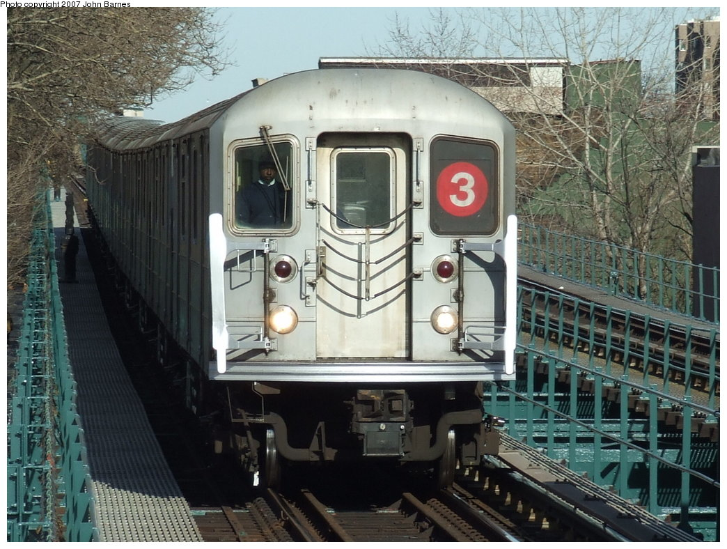 (219k, 1044x788)<br><b>Country:</b> United States<br><b>City:</b> New York<br><b>System:</b> New York City Transit<br><b>Line:</b> IRT Brooklyn Line<br><b>Location:</b> Saratoga Avenue <br><b>Route:</b> 3<br><b>Car:</b> R-62 (Kawasaki, 1983-1985)  1446 <br><b>Photo by:</b> John Barnes<br><b>Date:</b> 3/28/2007<br><b>Viewed (this week/total):</b> 1 / 3063