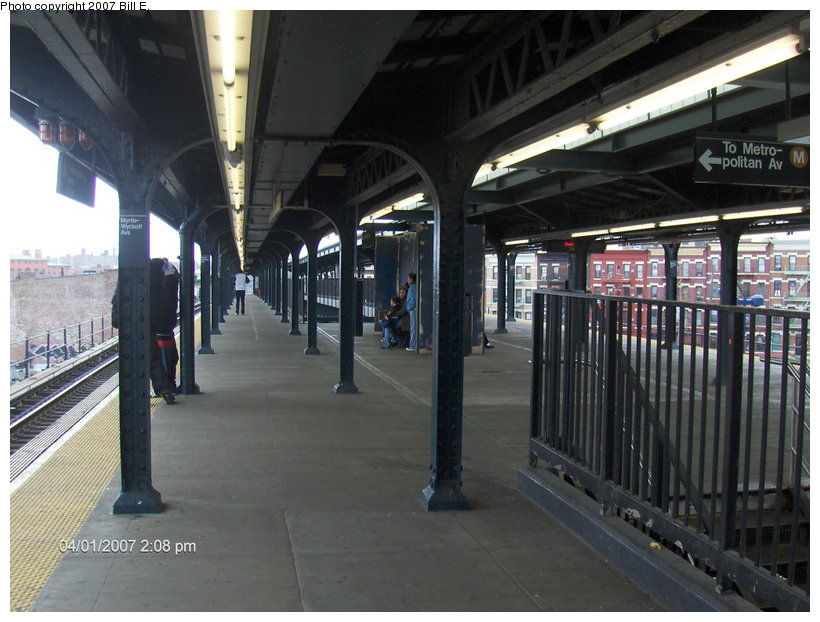 (111k, 820x622)<br><b>Country:</b> United States<br><b>City:</b> New York<br><b>System:</b> New York City Transit<br><b>Line:</b> BMT Myrtle Avenue Line<br><b>Location:</b> Wyckoff Avenue <br><b>Photo by:</b> Bill E.<br><b>Date:</b> 4/1/2007<br><b>Notes:</b> Note new covered-over area former center trackway.<br><b>Viewed (this week/total):</b> 1 / 1529
