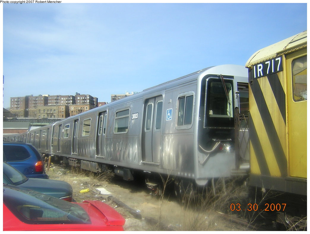 (172k, 1044x788)<br><b>Country:</b> United States<br><b>City:</b> New York<br><b>System:</b> New York City Transit<br><b>Location:</b> 207th Street Yard<br><b>Car:</b> R-110B (Bombardier, 1992) 3003 <br><b>Photo by:</b> Robert Mencher<br><b>Date:</b> 3/30/2007<br><b>Viewed (this week/total):</b> 4 / 2994