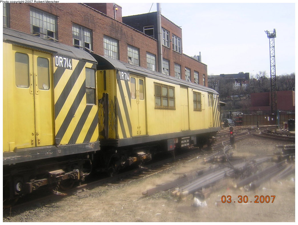 (202k, 1044x788)<br><b>Country:</b> United States<br><b>City:</b> New York<br><b>System:</b> New York City Transit<br><b>Location:</b> 207th Street Yard<br><b>Car:</b> R-95 Revenue Collector 0R714 (ex-7194)<br><b>Photo by:</b> Robert Mencher<br><b>Date:</b> 3/30/2007<br><b>Viewed (this week/total):</b> 2 / 1987