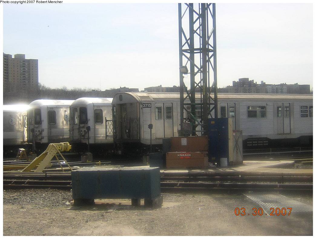 (174k, 1044x788)<br><b>Country:</b> United States<br><b>City:</b> New York<br><b>System:</b> New York City Transit<br><b>Location:</b> 207th Street Yard<br><b>Car:</b> R-32 (Budd, 1964)  3715 <br><b>Photo by:</b> Robert Mencher<br><b>Date:</b> 3/30/2007<br><b>Viewed (this week/total):</b> 0 / 2136