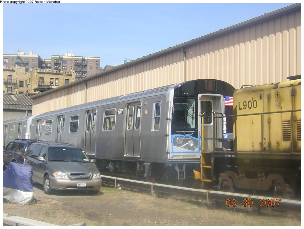 (188k, 1044x788)<br><b>Country:</b> United States<br><b>City:</b> New York<br><b>System:</b> New York City Transit<br><b>Location:</b> 207th Street Yard<br><b>Car:</b> R-160B (Kawasaki, 2005-2008)  8787 <br><b>Photo by:</b> Robert Mencher<br><b>Date:</b> 3/30/2007<br><b>Viewed (this week/total):</b> 1 / 3012