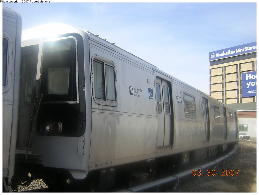 (147k, 1044x788)<br><b>Country:</b> United States<br><b>City:</b> New York<br><b>System:</b> New York City Transit<br><b>Location:</b> 207th Street Yard<br><b>Car:</b> R-110B (Bombardier, 1992) 3007 <br><b>Photo by:</b> Robert Mencher<br><b>Date:</b> 3/30/2007<br><b>Viewed (this week/total):</b> 0 / 2098
