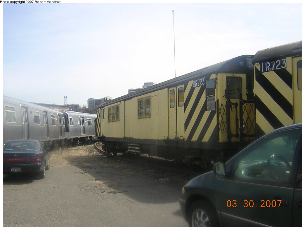(145k, 1044x788)<br><b>Country:</b> United States<br><b>City:</b> New York<br><b>System:</b> New York City Transit<br><b>Location:</b> 207th Street Yard<br><b>Car:</b> R-95 Revenue Collector 0R723 (ex-7490)<br><b>Photo by:</b> Robert Mencher<br><b>Date:</b> 3/30/2007<br><b>Viewed (this week/total):</b> 1 / 991