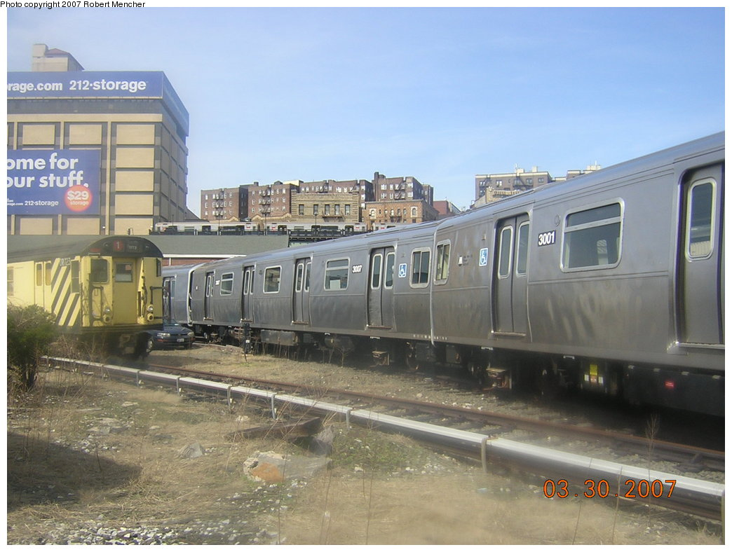 (193k, 1044x788)<br><b>Country:</b> United States<br><b>City:</b> New York<br><b>System:</b> New York City Transit<br><b>Location:</b> 207th Street Yard<br><b>Car:</b> R-110B (Bombardier, 1992) 3001/3007 <br><b>Photo by:</b> Robert Mencher<br><b>Date:</b> 3/30/2007<br><b>Viewed (this week/total):</b> 11 / 3866
