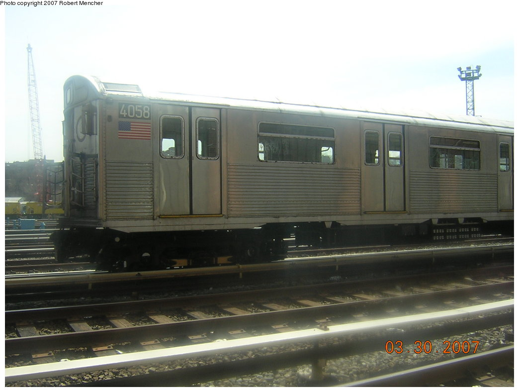 (155k, 1044x788)<br><b>Country:</b> United States<br><b>City:</b> New York<br><b>System:</b> New York City Transit<br><b>Location:</b> 207th Street Yard<br><b>Car:</b> R-38 (St. Louis, 1966-1967)  4058 <br><b>Photo by:</b> Robert Mencher<br><b>Date:</b> 3/30/2007<br><b>Viewed (this week/total):</b> 0 / 2024