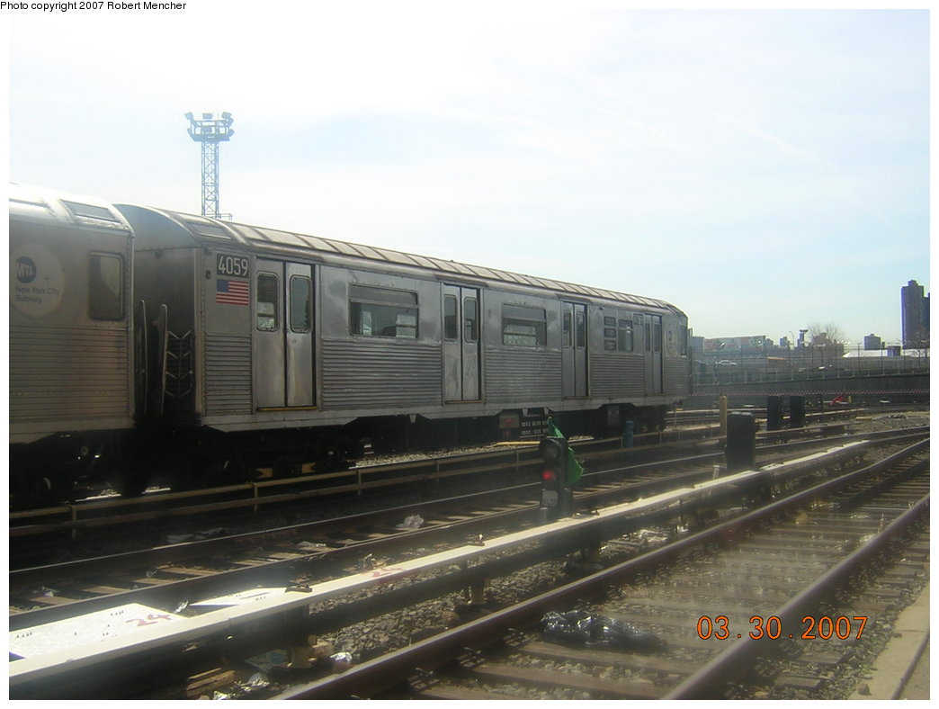(158k, 1044x788)<br><b>Country:</b> United States<br><b>City:</b> New York<br><b>System:</b> New York City Transit<br><b>Location:</b> 207th Street Yard<br><b>Car:</b> R-38 (St. Louis, 1966-1967)  4059 <br><b>Photo by:</b> Robert Mencher<br><b>Date:</b> 3/30/2007<br><b>Viewed (this week/total):</b> 0 / 2023