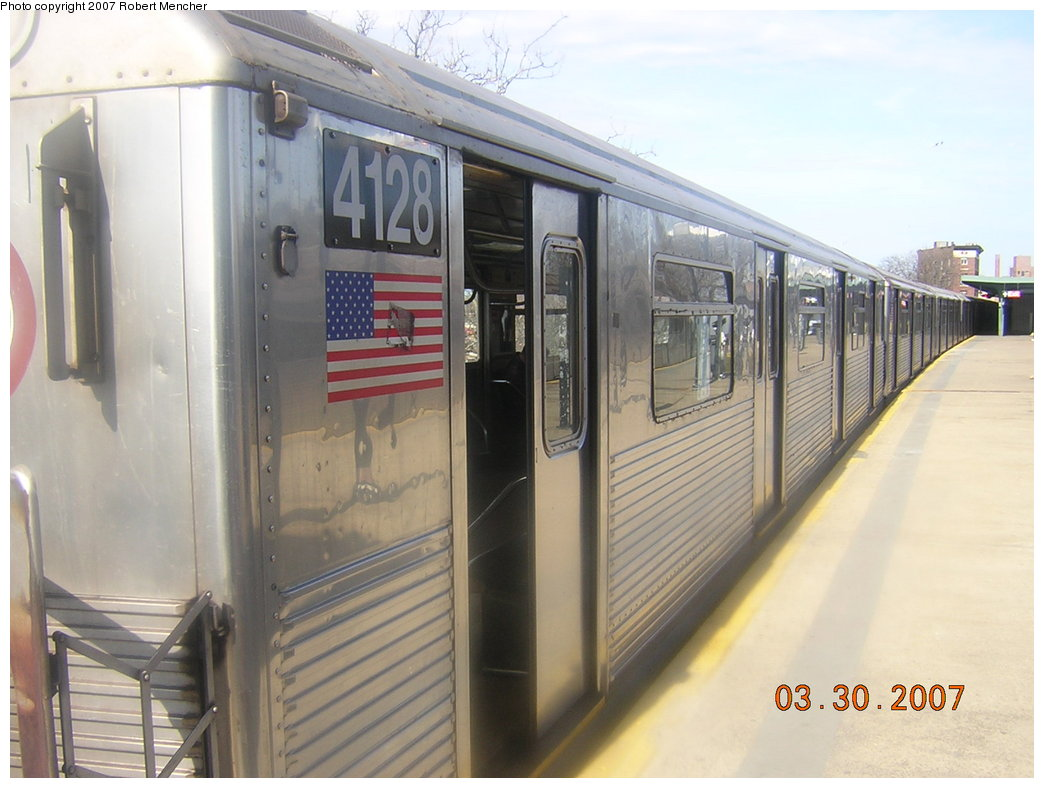 (179k, 1044x788)<br><b>Country:</b> United States<br><b>City:</b> New York<br><b>System:</b> New York City Transit<br><b>Line:</b> IND Rockaway<br><b>Location:</b> Mott Avenue/Far Rockaway <br><b>Route:</b> A<br><b>Car:</b> R-38 (St. Louis, 1966-1967)  4128 <br><b>Photo by:</b> Robert Mencher<br><b>Date:</b> 3/30/2007<br><b>Viewed (this week/total):</b> 1 / 2333