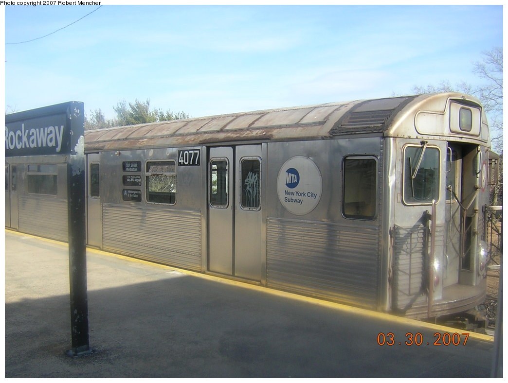 (170k, 1044x788)<br><b>Country:</b> United States<br><b>City:</b> New York<br><b>System:</b> New York City Transit<br><b>Line:</b> IND Rockaway<br><b>Location:</b> Mott Avenue/Far Rockaway <br><b>Route:</b> A<br><b>Car:</b> R-38 (St. Louis, 1966-1967)  4077 <br><b>Photo by:</b> Robert Mencher<br><b>Date:</b> 3/30/2007<br><b>Viewed (this week/total):</b> 2 / 2112