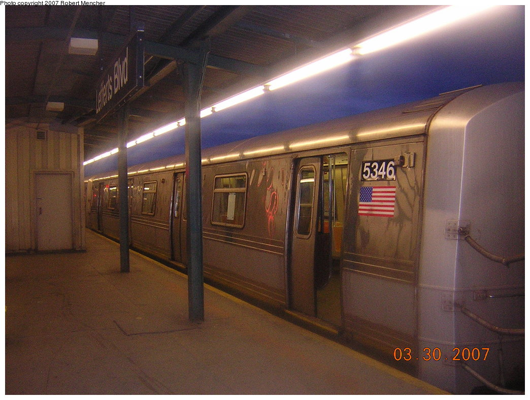 (207k, 1044x788)<br><b>Country:</b> United States<br><b>City:</b> New York<br><b>System:</b> New York City Transit<br><b>Line:</b> IND Fulton Street Line<br><b>Location:</b> Lefferts Boulevard <br><b>Route:</b> A<br><b>Car:</b> R-44 (St. Louis, 1971-73) 5346 <br><b>Photo by:</b> Robert Mencher<br><b>Date:</b> 3/30/2007<br><b>Viewed (this week/total):</b> 2 / 1316