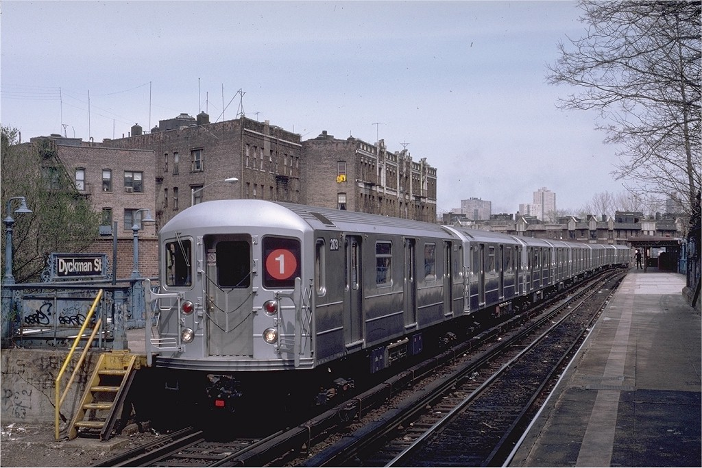(229k, 1024x683)<br><b>Country:</b> United States<br><b>City:</b> New York<br><b>System:</b> New York City Transit<br><b>Line:</b> IRT West Side Line<br><b>Location:</b> Dyckman Street <br><b>Route:</b> 1<br><b>Car:</b> R-62A (Bombardier, 1984-1987)  2173 <br><b>Photo by:</b> Eric Oszustowicz<br><b>Collection of:</b> Joe Testagrose<br><b>Date:</b> 4/12/1987<br><b>Viewed (this week/total):</b> 1 / 3054