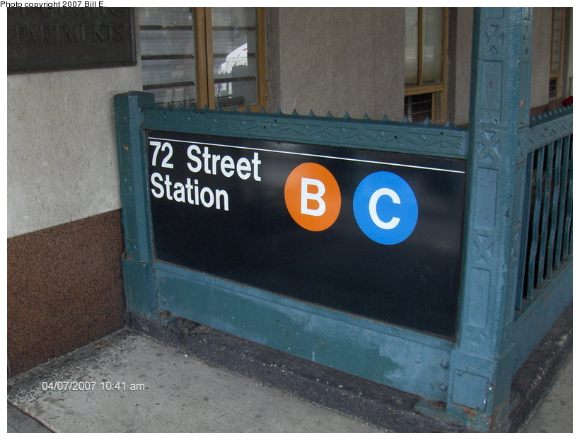 (102k, 820x622)<br><b>Country:</b> United States<br><b>City:</b> New York<br><b>System:</b> New York City Transit<br><b>Line:</b> IND 8th Avenue Line<br><b>Location:</b> 72nd Street <br><b>Photo by:</b> Bill E.<br><b>Date:</b> 4/7/2007<br><b>Notes:</b> Station entrance.<br><b>Viewed (this week/total):</b> 5 / 2925