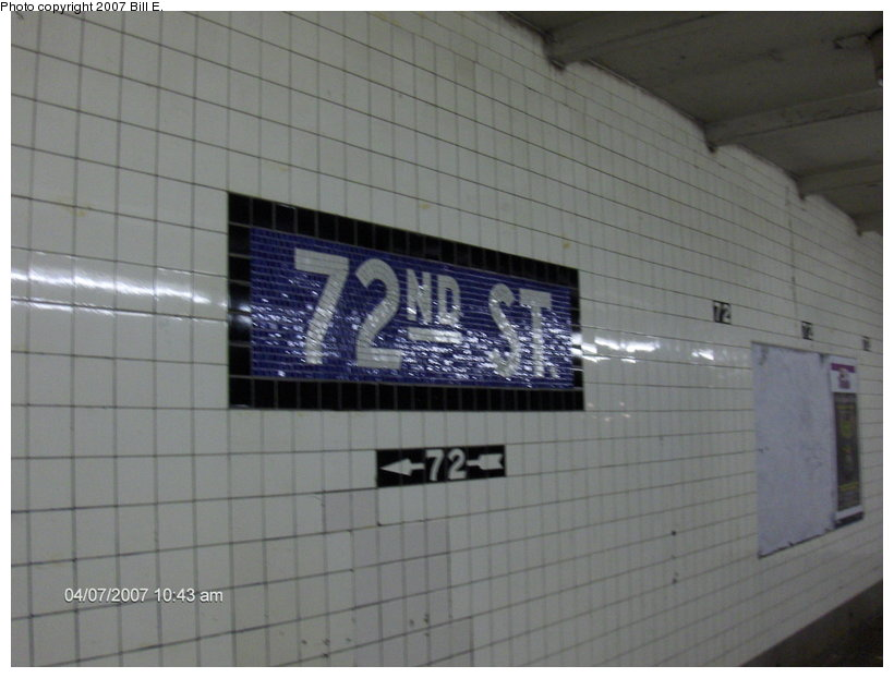 (81k, 820x622)<br><b>Country:</b> United States<br><b>City:</b> New York<br><b>System:</b> New York City Transit<br><b>Line:</b> IND 8th Avenue Line<br><b>Location:</b> 72nd Street <br><b>Photo by:</b> Bill E.<br><b>Date:</b> 4/7/2007<br><b>Notes:</b> Mosaic name tablet.<br><b>Viewed (this week/total):</b> 6 / 1251