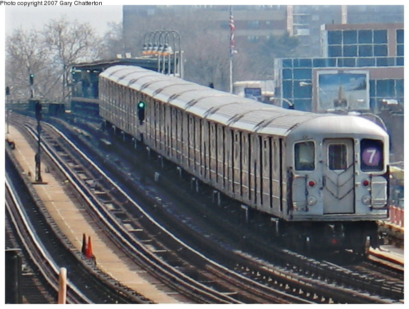 (115k, 820x620)<br><b>Country:</b> United States<br><b>City:</b> New York<br><b>System:</b> New York City Transit<br><b>Line:</b> IRT Flushing Line<br><b>Location:</b> 46th Street/Bliss Street <br><b>Route:</b> 7<br><b>Car:</b> R-62A (Bombardier, 1984-1987)  2149 <br><b>Photo by:</b> Gary Chatterton<br><b>Date:</b> 4/3/2007<br><b>Viewed (this week/total):</b> 1 / 1675