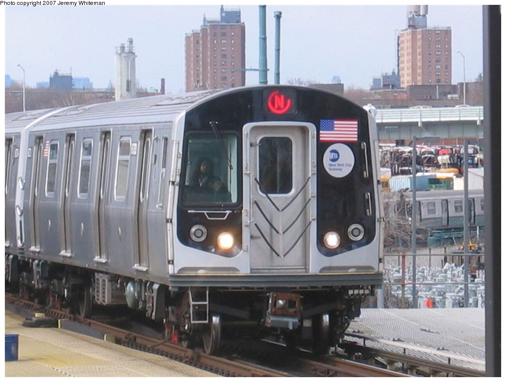 (143k, 1044x788)<br><b>Country:</b> United States<br><b>City:</b> New York<br><b>System:</b> New York City Transit<br><b>Location:</b> Coney Island/Stillwell Avenue<br><b>Route:</b> N<br><b>Car:</b> R-160A/R-160B Series (Number Unknown)  <br><b>Photo by:</b> Jeremy Whiteman<br><b>Date:</b> 4/6/2007<br><b>Viewed (this week/total):</b> 5 / 2679