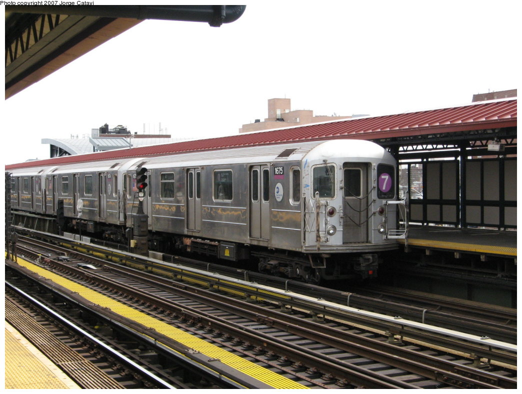 (179k, 1044x788)<br><b>Country:</b> United States<br><b>City:</b> New York<br><b>System:</b> New York City Transit<br><b>Line:</b> IRT Flushing Line<br><b>Location:</b> 74th Street/Broadway <br><b>Route:</b> 7<br><b>Car:</b> R-62A (Bombardier, 1984-1987)  1675 <br><b>Photo by:</b> Jorge Catayi<br><b>Date:</b> 4/7/2007<br><b>Viewed (this week/total):</b> 4 / 1207
