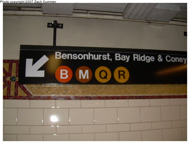(91k, 660x500)<br><b>Country:</b> United States<br><b>City:</b> New York<br><b>System:</b> New York City Transit<br><b>Location:</b> DeKalb Avenue<br><b>Photo by:</b> Zach Summer<br><b>Date:</b> 8/13/2006<br><b>Notes:</b> Restored mosaic band tile at DeKalb Ave.<br><b>Viewed (this week/total):</b> 1 / 2020
