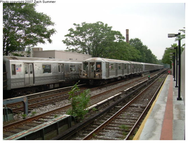 (138k, 660x500)<br><b>Country:</b> United States<br><b>City:</b> New York<br><b>System:</b> New York City Transit<br><b>Line:</b> BMT Brighton Line<br><b>Location:</b> Avenue M <br><b>Route:</b> Q<br><b>Car:</b> R-68A (Kawasaki, 1988-1989)  5052 <br><b>Photo by:</b> Zach Summer<br><b>Date:</b> 8/25/2006<br><b>Viewed (this week/total):</b> 11 / 2169