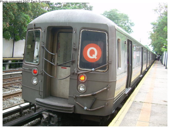 (120k, 660x500)<br><b>Country:</b> United States<br><b>City:</b> New York<br><b>System:</b> New York City Transit<br><b>Line:</b> BMT Brighton Line<br><b>Location:</b> Avenue M <br><b>Route:</b> Q<br><b>Car:</b> R-68 (Westinghouse-Amrail, 1986-1988)  2798 <br><b>Photo by:</b> Zach Summer<br><b>Date:</b> 8/25/2006<br><b>Notes:</b> Incorrect orange Q instead of yellow.<br><b>Viewed (this week/total):</b> 0 / 2136