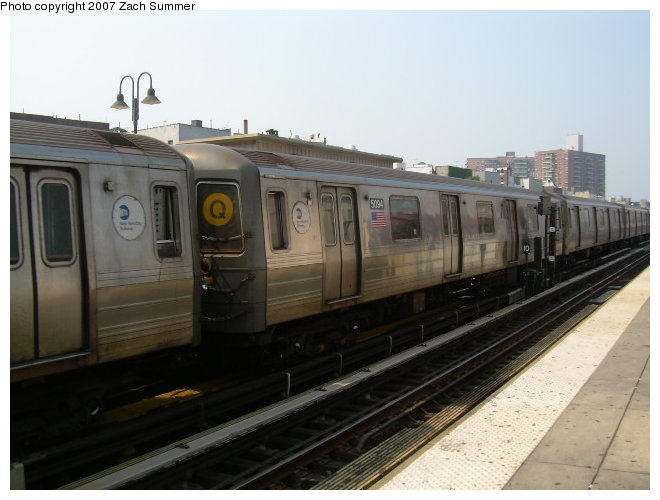 (98k, 660x500)<br><b>Country:</b> United States<br><b>City:</b> New York<br><b>System:</b> New York City Transit<br><b>Line:</b> BMT Brighton Line<br><b>Location:</b> Brighton Beach <br><b>Route:</b> Q<br><b>Car:</b> R-68A (Kawasaki, 1988-1989)  5094 <br><b>Photo by:</b> Zach Summer<br><b>Date:</b> 9/9/2006<br><b>Viewed (this week/total):</b> 0 / 1843