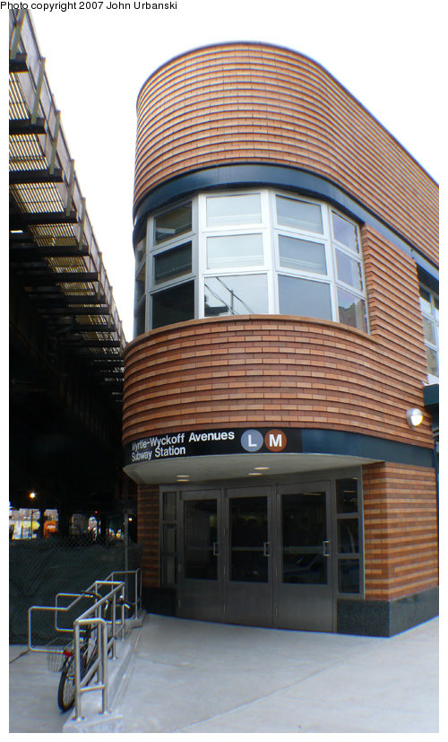 (164k, 500x827)<br><b>Country:</b> United States<br><b>City:</b> New York<br><b>System:</b> New York City Transit<br><b>Line:</b> BMT Myrtle Avenue Line<br><b>Location:</b> Myrtle/Wyckoff Headhouse/Transfer<br><b>Photo by:</b> John Urbanski<br><b>Date:</b> 4/19/2007<br><b>Notes:</b> New Myrtle-Wycoff transfer and headhouse.<br><b>Viewed (this week/total):</b> 3 / 3115
