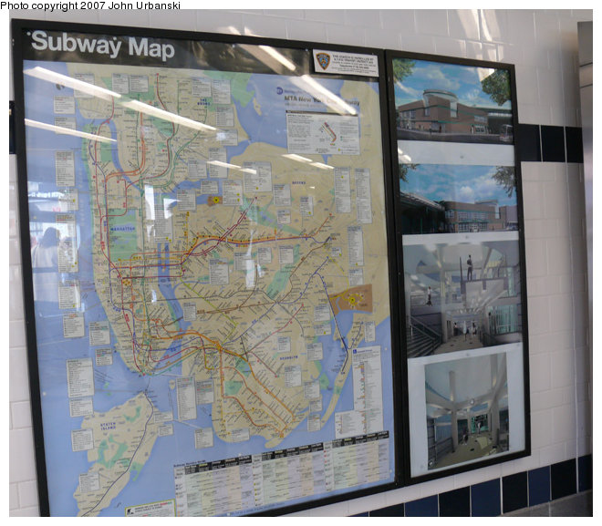 (146k, 660x577)<br><b>Country:</b> United States<br><b>City:</b> New York<br><b>System:</b> New York City Transit<br><b>Line:</b> BMT Myrtle Avenue Line<br><b>Location:</b> Myrtle/Wyckoff Headhouse/Transfer<br><b>Photo by:</b> John Urbanski<br><b>Date:</b> 4/19/2007<br><b>Notes:</b> Map with adjacent panels showing artists' conceptions of the new transfer area/headhouse.<br><b>Viewed (this week/total):</b> 1 / 1896