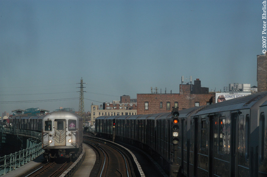 (130k, 864x574)<br><b>Country:</b> United States<br><b>City:</b> New York<br><b>System:</b> New York City Transit<br><b>Line:</b> IRT Flushing Line<br><b>Location:</b> 61st Street/Woodside <br><b>Car:</b> R-62A (Bombardier, 1984-1987)  1693 <br><b>Photo by:</b> Peter Ehrlich<br><b>Date:</b> 4/20/2007<br><b>Notes:</b> View from an outbound express train, approaching 61st/Woodside.<br><b>Viewed (this week/total):</b> 0 / 2242