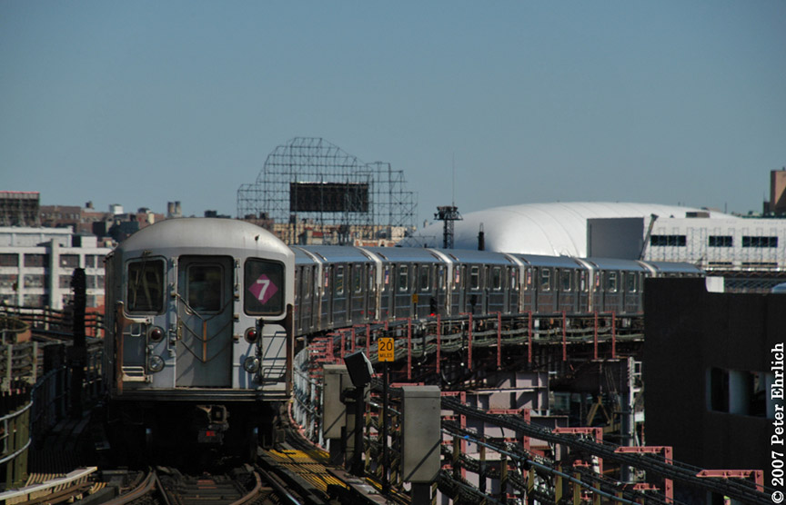 (154k, 864x556)<br><b>Country:</b> United States<br><b>City:</b> New York<br><b>System:</b> New York City Transit<br><b>Line:</b> IRT Flushing Line<br><b>Location:</b> Queensborough Plaza <br><b>Car:</b> R-62A (Bombardier, 1984-1987)  1811 <br><b>Photo by:</b> Peter Ehrlich<br><b>Date:</b> 4/20/2007<br><b>Notes:</b> Outbound train leaving Queensboro Plaza, trailing view.<br><b>Viewed (this week/total):</b> 5 / 1726