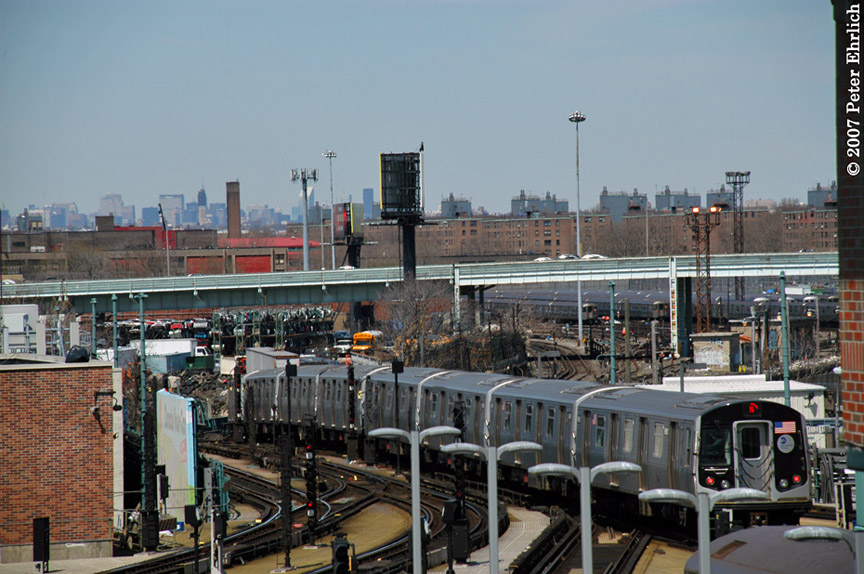 (207k, 864x574)<br><b>Country:</b> United States<br><b>City:</b> New York<br><b>System:</b> New York City Transit<br><b>Location:</b> Coney Island/Stillwell Avenue<br><b>Car:</b> R-160A-2 (Alstom, 2005-2008, 5 car sets)  8662 <br><b>Photo by:</b> Peter Ehrlich<br><b>Date:</b> 4/20/2007<br><b>Notes:</b> Leaving Coney Island/Stillwell Avenue, trailing view.<br><b>Viewed (this week/total):</b> 0 / 2879