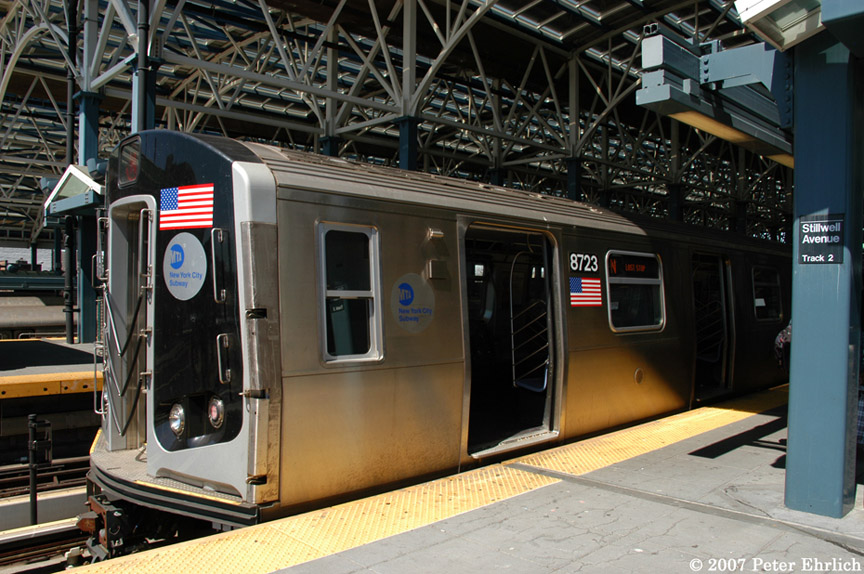 (213k, 864x574)<br><b>Country:</b> United States<br><b>City:</b> New York<br><b>System:</b> New York City Transit<br><b>Location:</b> Coney Island/Stillwell Avenue<br><b>Car:</b> R-160B (Kawasaki, 2005-2008)  8723 <br><b>Photo by:</b> Peter Ehrlich<br><b>Date:</b> 4/20/2007<br><b>Viewed (this week/total):</b> 0 / 2378