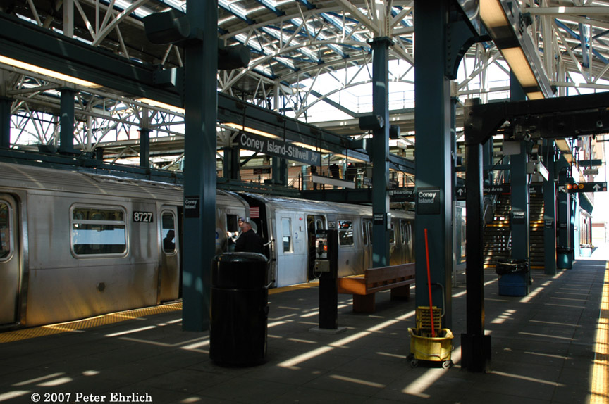 (215k, 864x574)<br><b>Country:</b> United States<br><b>City:</b> New York<br><b>System:</b> New York City Transit<br><b>Location:</b> Coney Island/Stillwell Avenue<br><b>Car:</b> R-160B (Kawasaki, 2005-2008)  8727 <br><b>Photo by:</b> Peter Ehrlich<br><b>Date:</b> 4/20/2007<br><b>Notes:</b> With 8757.<br><b>Viewed (this week/total):</b> 1 / 2625