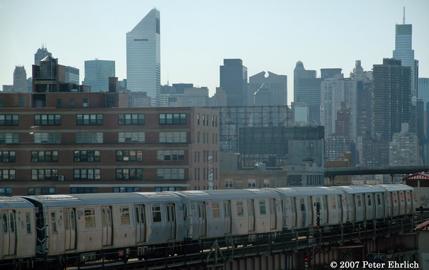 (152k, 864x545)<br><b>Country:</b> United States<br><b>City:</b> New York<br><b>System:</b> New York City Transit<br><b>Line:</b> BMT Astoria Line<br><b>Location:</b> Queensborough Plaza <br><b>Car:</b> R-160B (Kawasaki, 2005-2008)  8727 <br><b>Photo by:</b> Peter Ehrlich<br><b>Date:</b> 4/20/2007<br><b>Notes:</b> Leaving Queens Plaza outbound, view from first car of this R160 train.<br><b>Viewed (this week/total):</b> 0 / 1992