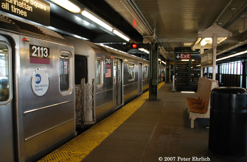 (186k, 864x566)<br><b>Country:</b> United States<br><b>City:</b> New York<br><b>System:</b> New York City Transit<br><b>Line:</b> IRT Flushing Line<br><b>Location:</b> Queensborough Plaza <br><b>Car:</b> R-62A (Bombardier, 1984-1987)  2113 <br><b>Photo by:</b> Peter Ehrlich<br><b>Date:</b> 4/20/2007<br><b>Notes:</b> At Queensboro Plaza outbound. With 2140.<br><b>Viewed (this week/total):</b> 2 / 1411