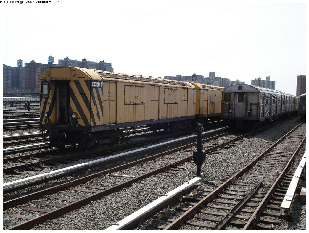 (205k, 1044x788)<br><b>Country:</b> United States<br><b>City:</b> New York<br><b>System:</b> New York City Transit<br><b>Location:</b> Coney Island Yard<br><b>Car:</b> R-123 Continuous Welded Rail Handler (R17/R21/R22 Rebuilds) CCR01 <br><b>Photo by:</b> Michael Hodurski<br><b>Date:</b> 4/14/2007<br><b>Viewed (this week/total):</b> 0 / 1196