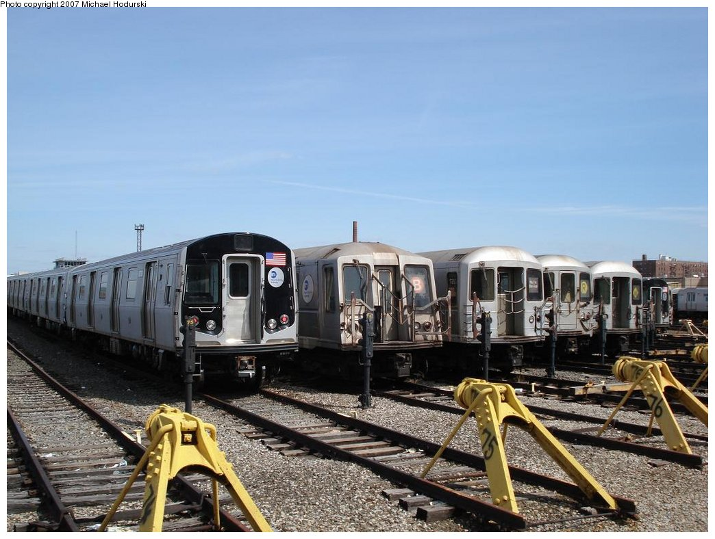 (186k, 1044x788)<br><b>Country:</b> United States<br><b>City:</b> New York<br><b>System:</b> New York City Transit<br><b>Location:</b> Coney Island Yard<br><b>Car:</b> R-160B (Kawasaki, 2005-2008)  8738 <br><b>Photo by:</b> Michael Hodurski<br><b>Date:</b> 4/14/2007<br><b>Viewed (this week/total):</b> 1 / 1839