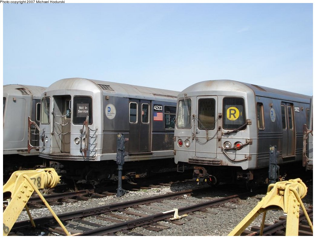 (168k, 1044x788)<br><b>Country:</b> United States<br><b>City:</b> New York<br><b>System:</b> New York City Transit<br><b>Location:</b> Coney Island Yard<br><b>Car:</b> R-40M (St. Louis, 1969)  4523 <br><b>Photo by:</b> Michael Hodurski<br><b>Date:</b> 4/14/2007<br><b>Viewed (this week/total):</b> 0 / 2338