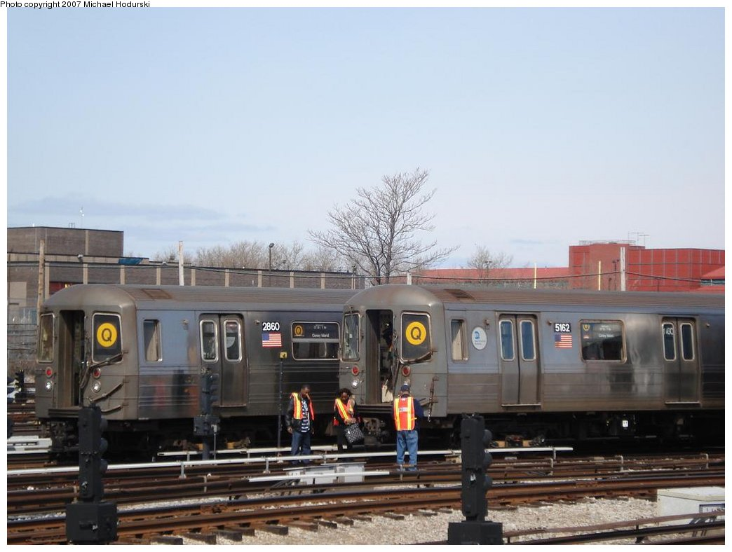 (139k, 1044x788)<br><b>Country:</b> United States<br><b>City:</b> New York<br><b>System:</b> New York City Transit<br><b>Location:</b> Coney Island Yard<br><b>Car:</b> R-68 (Westinghouse-Amrail, 1986-1988)  2860 <br><b>Photo by:</b> Michael Hodurski<br><b>Date:</b> 4/14/2007<br><b>Viewed (this week/total):</b> 1 / 1968
