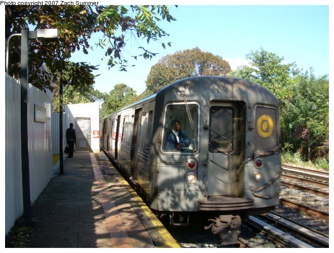 (141k, 660x500)<br><b>Country:</b> United States<br><b>City:</b> New York<br><b>System:</b> New York City Transit<br><b>Line:</b> BMT Brighton Line<br><b>Location:</b> Avenue J <br><b>Route:</b> Q<br><b>Car:</b> R-68A (Kawasaki, 1988-1989)   <br><b>Photo by:</b> Zach Summer<br><b>Date:</b> 10/21/2006<br><b>Viewed (this week/total):</b> 3 / 1735