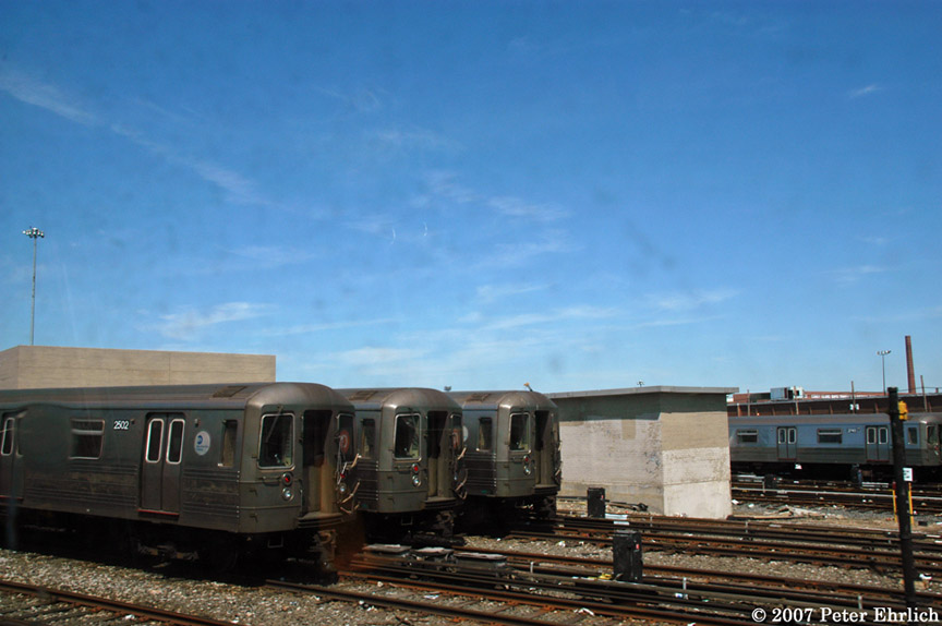 (147k, 864x574)<br><b>Country:</b> United States<br><b>City:</b> New York<br><b>System:</b> New York City Transit<br><b>Location:</b> Coney Island Yard<br><b>Car:</b> R-68 (Westinghouse-Amrail, 1986-1988)  2502 <br><b>Photo by:</b> Peter Ehrlich<br><b>Date:</b> 4/20/2007<br><b>Viewed (this week/total):</b> 1 / 2011