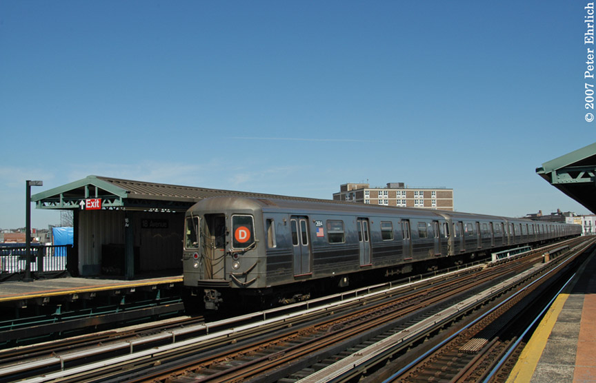 (161k, 864x556)<br><b>Country:</b> United States<br><b>City:</b> New York<br><b>System:</b> New York City Transit<br><b>Line:</b> BMT West End Line<br><b>Location:</b> 18th Avenue <br><b>Route:</b> D<br><b>Car:</b> R-68 (Westinghouse-Amrail, 1986-1988)  2684 <br><b>Photo by:</b> Peter Ehrlich<br><b>Date:</b> 4/20/2007<br><b>Viewed (this week/total):</b> 1 / 1090