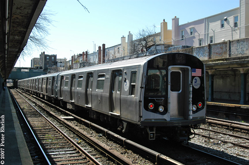 (223k, 864x574)<br><b>Country:</b> United States<br><b>City:</b> New York<br><b>System:</b> New York City Transit<br><b>Line:</b> BMT Sea Beach Line<br><b>Location:</b> 18th Avenue <br><b>Car:</b> R-160B (Kawasaki, 2005-2008)  8843 <br><b>Photo by:</b> Peter Ehrlich<br><b>Date:</b> 4/20/2007<br><b>Viewed (this week/total):</b> 1 / 2000