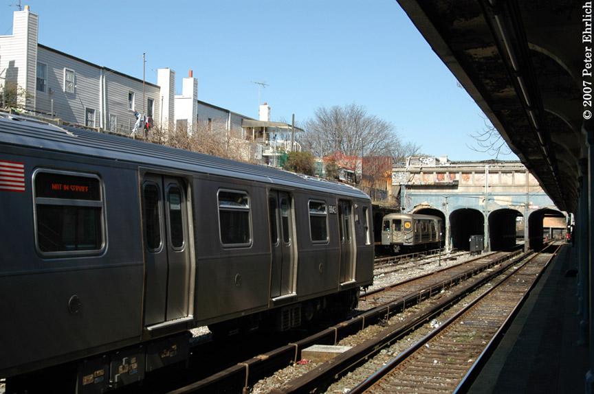 (181k, 864x574)<br><b>Country:</b> United States<br><b>City:</b> New York<br><b>System:</b> New York City Transit<br><b>Line:</b> BMT Sea Beach Line<br><b>Location:</b> 18th Avenue <br><b>Car:</b> R-160B (Kawasaki, 2005-2008)  8843 <br><b>Photo by:</b> Peter Ehrlich<br><b>Date:</b> 4/20/2007<br><b>Notes:</b> With R68A 5122.<br><b>Viewed (this week/total):</b> 1 / 1617