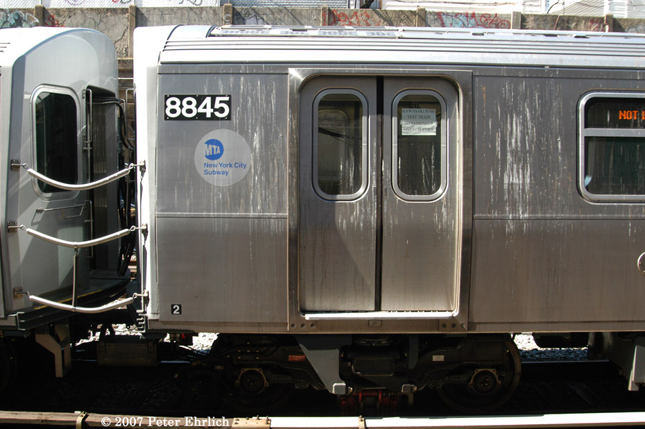 (200k, 930x618)<br><b>Country:</b> United States<br><b>City:</b> New York<br><b>System:</b> New York City Transit<br><b>Line:</b> BMT Sea Beach Line<br><b>Location:</b> 18th Avenue <br><b>Car:</b> R-160B (Kawasaki, 2005-2008)  8845 <br><b>Photo by:</b> Peter Ehrlich<br><b>Date:</b> 4/20/2007<br><b>Viewed (this week/total):</b> 4 / 1806