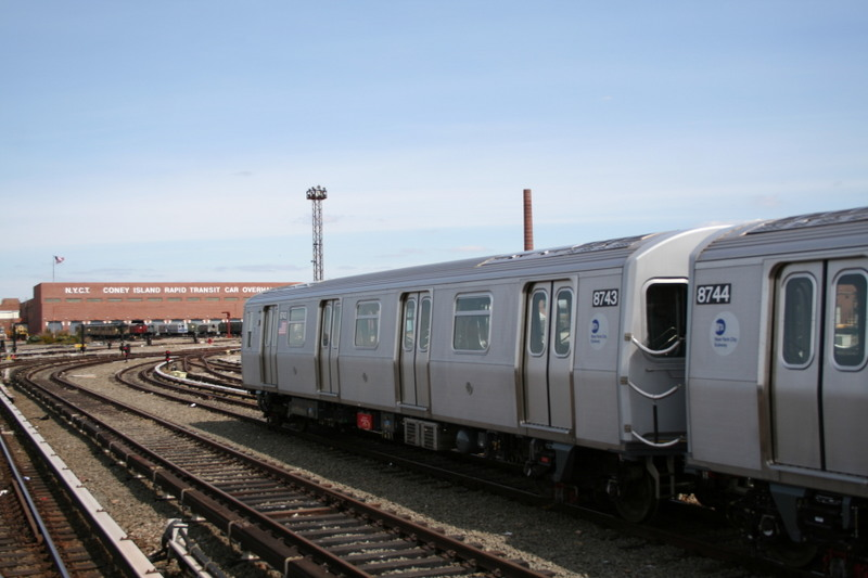 (101k, 800x533)<br><b>Country:</b> United States<br><b>City:</b> New York<br><b>System:</b> New York City Transit<br><b>Location:</b> Coney Island Yard<br><b>Car:</b> R-160B (Kawasaki, 2005-2008)  8743 <br><b>Photo by:</b> Neil Feldman<br><b>Date:</b> 4/14/2007<br><b>Viewed (this week/total):</b> 4 / 1625