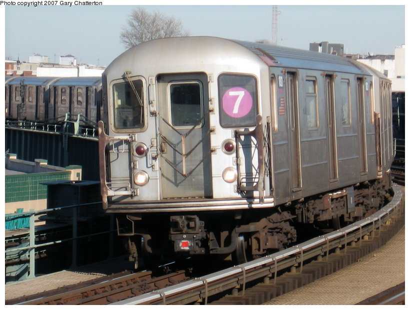 (116k, 820x620)<br><b>Country:</b> United States<br><b>City:</b> New York<br><b>System:</b> New York City Transit<br><b>Line:</b> IRT Flushing Line<br><b>Location:</b> 46th Street/Bliss Street <br><b>Route:</b> 7<br><b>Car:</b> R-62A (Bombardier, 1984-1987)  1821 <br><b>Photo by:</b> Gary Chatterton<br><b>Date:</b> 3/9/2007<br><b>Viewed (this week/total):</b> 1 / 1487